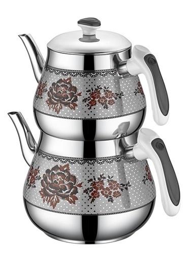 Özkent Kristal Mini Desenli Çaydanlık Siyah Siyah
